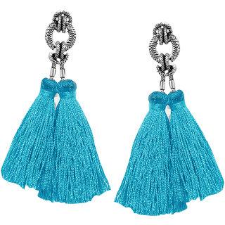 JewelMaze Rhodium Plated Blue Thread Tassel Earrings