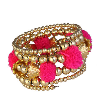 JewelMaze Gold Plated Pink Thread Bracelet