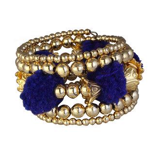 JewelMaze Gold Plated Blue Thread Bracelet