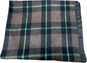Peponi 2.5 Kg Checkered woolen with satin border Single Blanket (152.4X218.44 cm)
