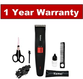 Kemei Professional KM-3118 Cordless Trimmer For Men (Black) - 1 Year Warranty