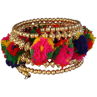JewelMaze Gold Plated Multicolour Thread Bracelet