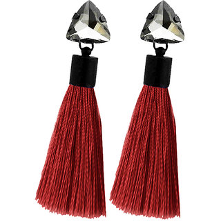 JewelMaze Oxidised Plated Glass Stone Maroon Thread Tassel Earrings
