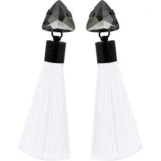 JewelMaze Oxidised Plated Glass Stone White Thread Tassel Earrings