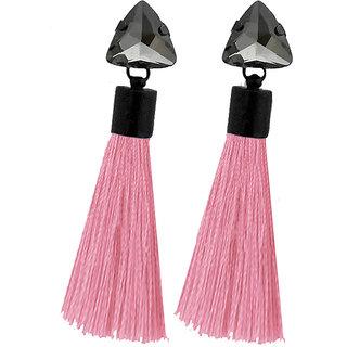 JewelMaze Oxidised Plated Glass Stone Pink Thread Tassel Earrings