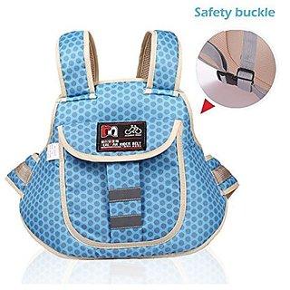 Kids Safety Two Wheeler Seat Belt/Front And Back Safety Belt (Blue)