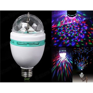 DDH Disco Light Mini Party Lamp LED 3W Effect Rotating Decorative RGB Crystal Bulb Buy One get One Free
