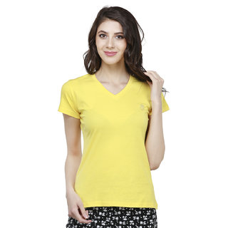 Bongio Multicolor Plain V-Neck Tshirts  For Women