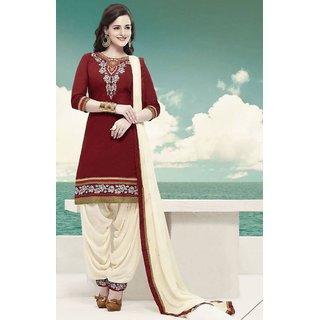 The Woman Taxfeb Cotton Patiyala Salwar Suit Marron and Cream for Girls/Woman