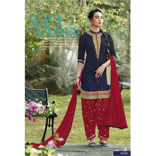 The Woman Taxfeb Cotton Patiyala Salwar Suit Blue and Red for Girls/Woman