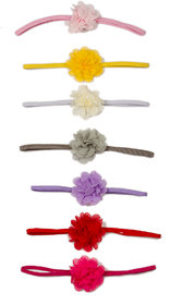 Pikaboo Small Flower Headbands For Girl - Pack Of 7