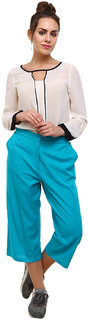 Klick2Style Cotton Linen Culotte Firozi Trouser