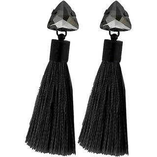 JewelMaze Oxidised Plated Black Glass Stone Thread Tassel Earrings