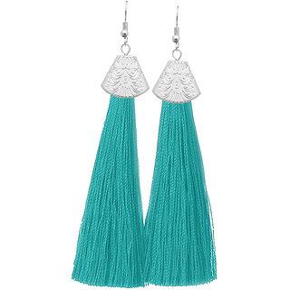 JewelMaze Silver Plated Green Thread Tassel Earrings