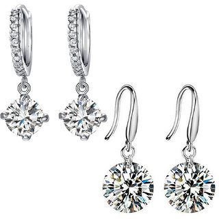 Mahi Rhodium Plated Combo of Ethereal White Drop and Hoop Earrings with Crystal Stones CO1104651R
