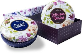 DRAFT Cashews (roasted, salted)  Raisins Gift Box - 2 Bowl Tin, 200 gm each