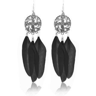JewelMaze Rhodium Plated Black Feather Earrings