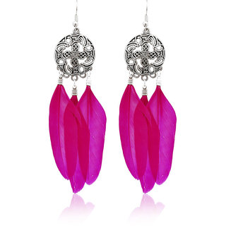 JewelMaze Rhodium Plated Pink Feather Earrings