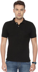Concepts Black Plain Cotton Blend Polo Tshirt