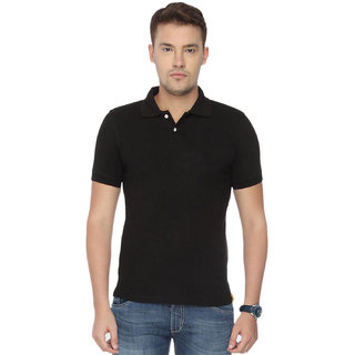 Concepts Black Plain Cotton Blend Polo Tshirt