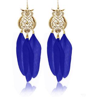 JewelMaze Gold Plated Blue Owl Feather Earrings