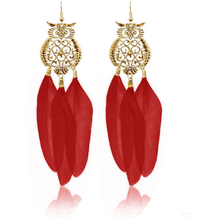 JewelMaze Gold Plated Red Owl Feather Earrings