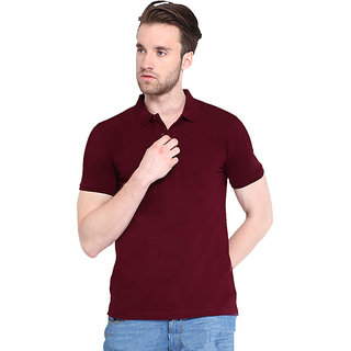 Concepts Maroon Cotton Blend Polo Neck Tshirt