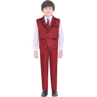 Jeet Maroon WaistCoat Suit for Boys