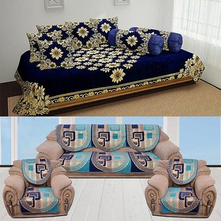 Fine The Intellect Bazaar 500 Tc Chenille Sofa Cover And Diwan Set Combo Blue Lamtechconsult Wood Chair Design Ideas Lamtechconsultcom