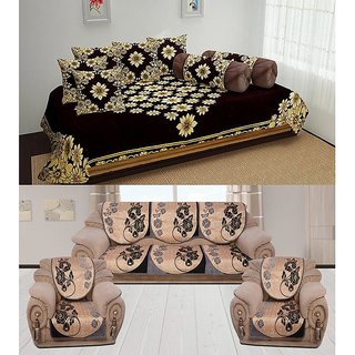 The Intellect Bazaar 500 TC Chenille Sofa Cover and Diwan Set Combo, Brown