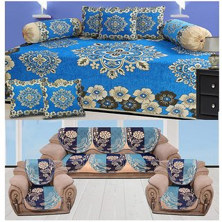 Marvelous The Intellect Bazaar 500 Tc Chenille Sofa Cover And Diwan Set Combo Blue Lamtechconsult Wood Chair Design Ideas Lamtechconsultcom