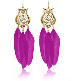 JewelMaze Gold Plated Purple Owl Feather Earrings