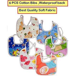 Feeding Baby Bib Knot Style (Multicolor  Random Design) Baby/ Infant Feeding Bibs with Waterproof Back 6 PCS CodExi-1087