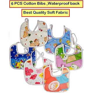 Feeding Baby Bib Knot Style (Multicolor  Random Design) Baby/ Infant Feeding Bibs with Waterproof Back 6 PCS CodESj-6500