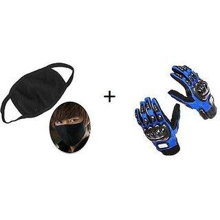 Combo Blue Pro-biker Gloves+Anti Pollution Face Mask