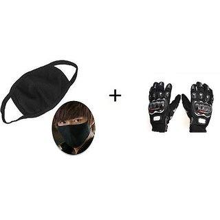 16%off Combo Black Pro-biker Gloves+Anti Pollution Face Mask 6d6c48a94e82
