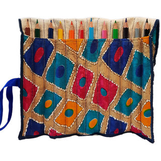 Sambhali Trust Multicolor Handmade Cotton And Canvas Rollable Pencil Case