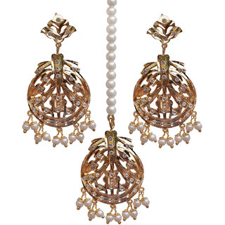 Lucky Jewellery Designer Alloy White Color Gold Plated Maang Tikka Set For Women