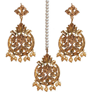 Lucky Jewellery Designer LCT Golden Color Gold Plated Maang Tikka Set For Women
