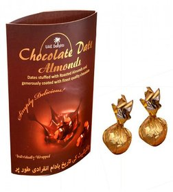 UAE Delights Chocolate Date Almonds Chocolate Covered Nuts Date Almonds 140 gm