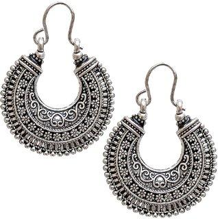 Lucky Jewellery Trendy Silver Oxidised Plating Earring For Girls & Women