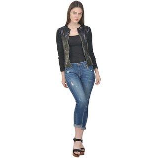 Raabta Black Faux Leather Jacket for women