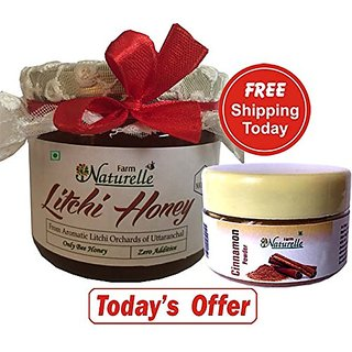 1 Litchi Honey !! 400 Gms with Cinnamon Powder!! The Finest 100 Pure Raw Natural Honey Unprocessed Honey. Cinnamon Powd