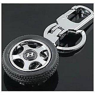 Hyundai Spinning Wheel Tyre Keychain For Car And Bike Keyring