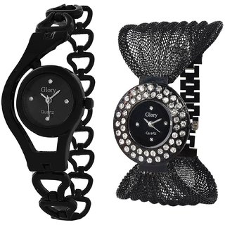 TRUE CHOICE NEW BLACK CHAIN + BLACK ZULA SIGNATURE DESIGN COMBO WATCH