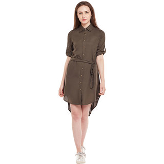 GJ Couture Rayon Solid Shirt Collor Neck Green Three Forth/ Roll Up Front Button Tab With Belt Dress