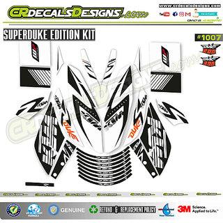 CR Decals Ktm Duke SUPERDUKE Black/White Sticker Kit (Duke 200/390)