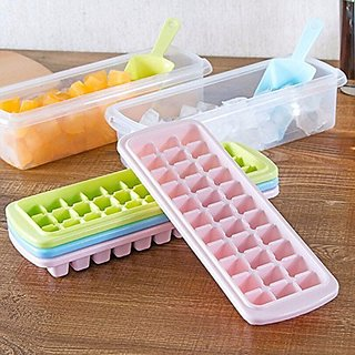 kreativekudie lastic 33 Cubes Ice Tray Holes With Lid And Shovel 27 x 10 x 8 cm 1 Piece multicolor ce Cube Tray with L