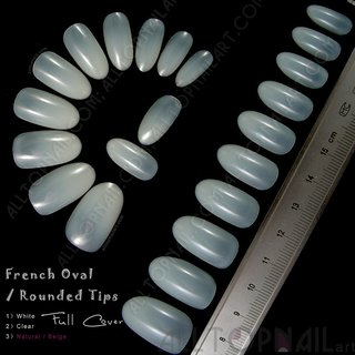Generic French Oval / Rounded Artificial False Nail Tips 100x Natural Full Cover Fake Nail Art Tips