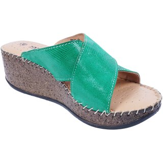 Green Colour Women's Leather Wedges - SWANSIND